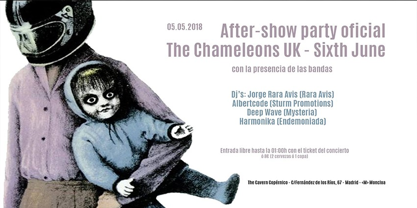 The Chameleons UK + Sixth June aftershow party oficial Madrid - Sábado 5 de Mayo - Sala The Copérnico Cavern Madrid